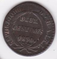 REPUBLIQUE D'HAITI. 2 CENTIME 1830 AN 27. KM# A22 - Haiti