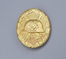 Verwundetenabzeichen Gold Alter Art, Buntmetall Hohl Geprägt Und Vergoldet.. - 1939-45