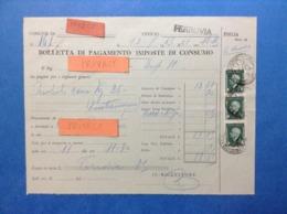 REGNO 1943 BOLLETTA PAGAMENTO IMPOSTE CONSUMO UFFICIO FERROVIA MOD 24 FIGLIA CON MARCHE DA BOLLO VITTORIO EMANUELE III - Documenti Storici