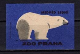 Tschechisches Zuendholzschachteletikett, Eisbaer (80259) - Zündholzschachteletiketten