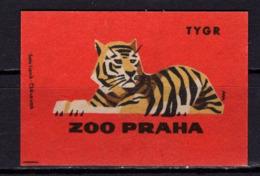 Tschechisches Zuendholzschachteletikett, Tiger (80260) - Zündholzschachteletiketten