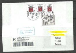 LETTLAND Latvia 2012 Registered Letter To Estonia - Latvia