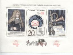Tschechoslowakei Block 67 A Postfrisch PRAGA '88, FIP, Posthorn - Blocks & Kleinbögen