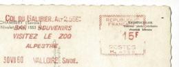 """EMA 5 Lignes """"Col Du Galibier, Bar Souvenirs - Visitez Le Zoo Alpestre - 30VII60 - Valloire Savoie - 15F - M-4058 Sur CP - Marcophilie (Lettres)"""