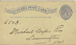 Kanada / Canada - Ganzsache Postkarte Echt Gelaufen / Postcard Used (T427) - 1860-1899 Regering Van Victoria