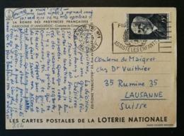 Carte Avec Oblitération  Paris Tri N°1 Depart.Pour La Suisse.N°864 - Poststempel (Briefe)