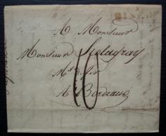 Fontaine L'évêque 1813 (Belgique) Marque Rouge BINCHE Sur Une Lettre Pour Bordeaux (France) - 1794-1814 (French Period)