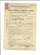 1940 LETTRE DE VOITURE TYPE 2 FISCAL 1.20 FRANC STE CENTRALE TRANSPORTS FLUVIAUX RAFFINERIE PETROLE NORD MARINIER BONNET - Steuermarken