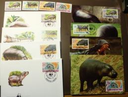 Liberia 1984 WWF Zwergflusspferd Hippopotame Mi 1315 -18 Maxi Card FDC MNH ** #cover 4978 - W.W.F.
