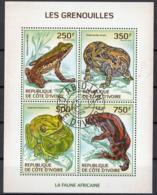 Costa D'Avorio 2014 Rane Frog Grenouilles Sheet Perf. CTO WWF - Costa D'Avorio (1960-...)