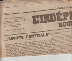 """Guerre De 14-18 Journal RUSSE Janv. 1918 Et """"L'INDEPENDANCE ROUMAINE"""" (en Français) Avril 1919 - Documents Historiques"""
