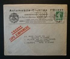 Enveloppe Automobile Club De L'Ouest.Obliteration Le Mans Sur N° 361 - Marcophilie (Lettres)