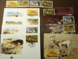1986 SENEGAL WWF FAUNA WILD ANIMALS GAZELLES Mi 875-878   Maxi Card FDC MNH ** #cover 4984 - W.W.F.