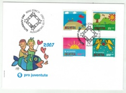 Suisse//Schweiz//Svizerra // Switzerland// Pro- Juventute // 2007 // Lettre (FDC) Avec Série Oblitérée 1er Jour - Pro Juventute