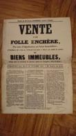 AFFICHE VENTE FOLLE ENCHERE SAUVIAT PUY DE DOME 1861 BIENS IMMEUBLES DE JEAN FONTLUPT DANTON CULTIVATEUR LA GARDELLE - Afiches