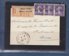 ALGERIE 18 BANDE DE 3 LETTRE RECOMMANDEE DE ORAN RUE MIRAUCHAUX - Algerien (1924-1962)