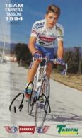 CARTE CYCLISME BEAT ZBERG SIGNEE 1994 FORMAT 12 X 20 - Cyclisme
