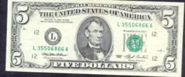 USA 5 Dollars 1993 L  - VF # P- 491 < L - San Francisco CA > - Federal Reserve Notes (1928-...)