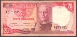 Portugal   1972 -  20$00 Escudos  / Serie XB 75752 Banco De  Angola 24-11-1972 Marechal Carmona - Portogallo