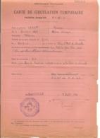 FRANCE Année 1941 AUTORISATION TEMPORAIRE DE CIRCULER GENDARMERIE DE MARSEILLE - Marcofilia (sobres)