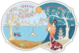 Turkey 2019, Year Of Turkey In Japan, Extraordinary Sheet In Silk And Odd Shaped, MNH - 1921-... Repubblica