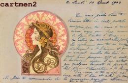 "BELLE CPA GAUFREE STYLE ART NOUVEAU "" FEMME EN MEDAILLON "" 1900 STYLE KIRCHNER MUCHA - Künstlerkarten"