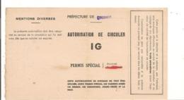 FRANCE Année 1944  AUTORISATION DE CIRCULER PRÉFECTURE DU CHER - Marcophilie (Lettres)