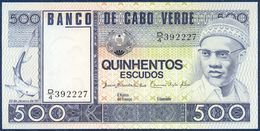 CAPE VERDE CABO VERDE 500 ESCUDOS P-55 FISH SHARK SHIP 1977 UNC - Cabo Verde