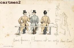 ILLUSTRATEUR CHAMOUIN HOMMES SUR UN BANC 1900 - Otros Ilustradores