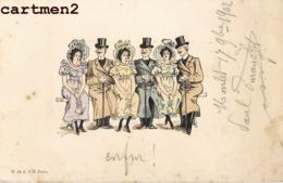 ILLUSTRATEUR CHAMOUIN COUPLES SUR UN BANC 1900 - Otros Ilustradores