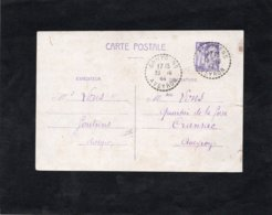 1944 - Cachet Perlé GOUTRENS (Aveyron) Sur Entier Postal  651-CP1 - Marcophilie (Lettres)