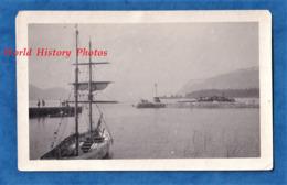 Photo Ancienne Snapshot - Port à Situer - Lac ? - Bateau Voilier Voile Boat Ship Mats - Schiffe