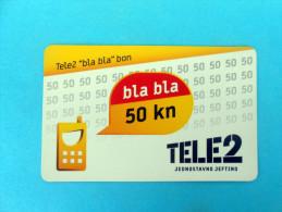 TELE2 - 50. Kuna ( Croatia Prepaid Card ) * Tele 2 Bon Recharge Card GSM Croatie Carte Prépayée - Kroatien
