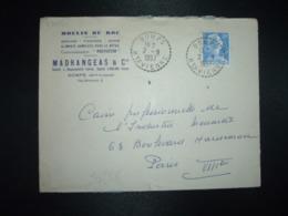 LETTRE TP MULLER 20F OBL. Tiretée 2-9 1957 DOMPS HTE VIENNE (87) MOULIN DU ROC MADRANGEAS & Cie - Marcophilie (Lettres)