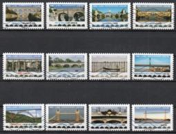 France - Adhésifs N° 1466 à 1477 Oblitérés - Série Complète - Achitecture - Ponts Et Viaducs - Sellos Autoadhesivos