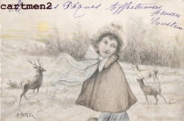ILLUSTRATEUR B. PATELLA FEMME DANS LA CAMPAGNE STYLE VIENNOISE 1900 - Illustrateurs & Photographes