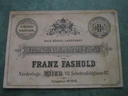 Baumwoll & Leinenband-Fabrik - FRANZ FASHOLD - WIEN VII. Schoffenfeldgasse 87 - Autres