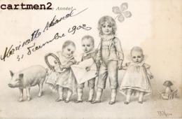 ILLUSTRATEUR WICHERA M.M. VIENNE Nr 123 BEBE ENFANTS BONNE-ANNEE VIENNOISE 1900 - Wichera