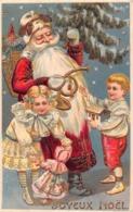 NOEL  - Joyeux Noel  - Pere Noel Distribuant Jouets ( Gauffrée ) - Weihnachten