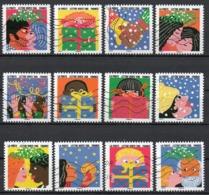 France - Adhésifs N° 1190 à 1201 Oblitérés - Série Complète - Bonne Année - Francia