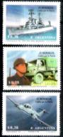 630  Fighters - War Ships - Trucks - Argentina Yv 1781-83 - MNH - 1,50 (5) - Avions