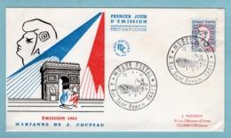 FDC France 1961 -  Marianne De Cocteau - YT 1282 - Paris - 1960-1969
