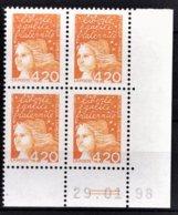 FRANCE  1997 - BLOC DE 4 TP COIN DE FEUILLE / DATE / Y.T. N° 3094 - NEUFS** - 1990-1999