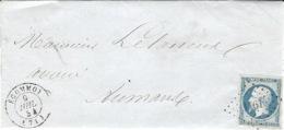 1854-enveloppe D'ECOMMOY ( Sarthe ) Cad T15 Affr. N°14 Oblit. P C 1161 - 1849-1876: Période Classique