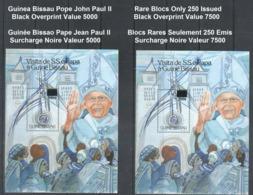 B1) Guinea Bissau 2000 MNH - Pope John Paul II Revalued 5000 And 7500 Black Overprint - Set X2 Rare Blocs Limited Issue - Popes