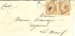1860- Enveloppe De BONNETABLE  ( Sarthe ) Sans Cad  Affr. Paire N°13 Oblit. P C 433 - 1849-1876: Période Classique