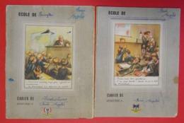 Ww2 Lot De 2 Cahiers D'Ecole 1943 Avec Francisque Illustrés Par Poulbot 1ere Page Message Du Maréchal Aux écoliers 1941 - Documenten