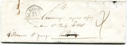 SEINE De LA VILLETTE LAC Du 24/05/1848 Dateur T 15 Et Taxe De 2 Redirigée Vers VILLENEUVE ST GEORGES - 1801-1848: Precursores XIX
