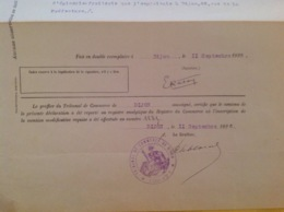 Cachet Tribunal De Commerce De Dijon 1926 - Gebührenstempel, Impoststempel