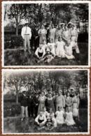 2 Photos Originales D'un Groupe Familiale En Forêt Avec Effet Flouté Pour La Pentecôte 1932 - Les 7 Erreurs Ou Plus  ! - Anonymous Persons
